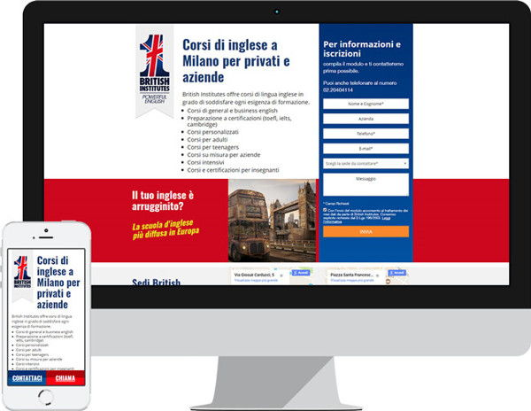 British Institutes Milano Landing page